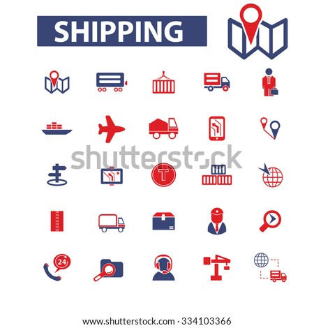 shipping, delivery, logistics icons, signs vector concept set for infographics, mobile, website - stock vector