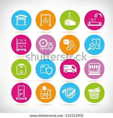 shipping icon set, round button set - stock vector