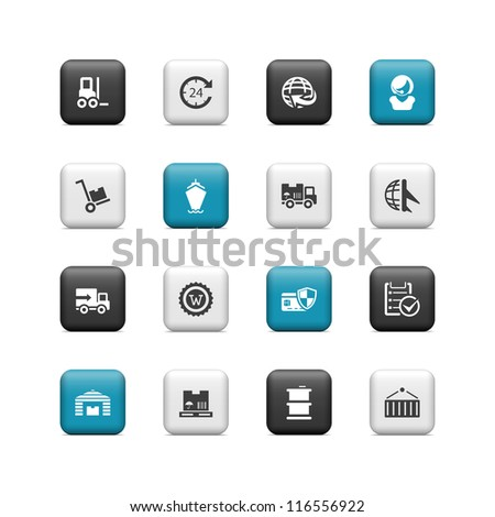 Shipping icons. Buttons - stock vector