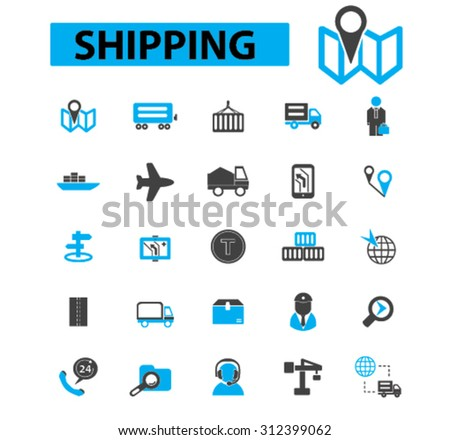 Shipping icons concept. Delivery, logistics, cargo ship,  container ship,  shipping box, air transportation, navigation. Vector illustration set - stock vector