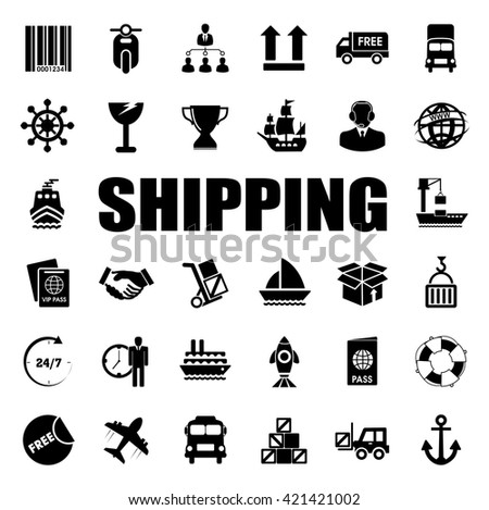 shipping icons set - stock vector