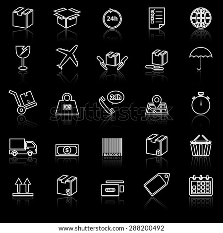 Shipping line icons with reflect on black, stock vector - stock vector