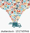 Shipping logistics delivery concept: speedy truck with icons splash illustration. Vector layered for easy editing. - stock