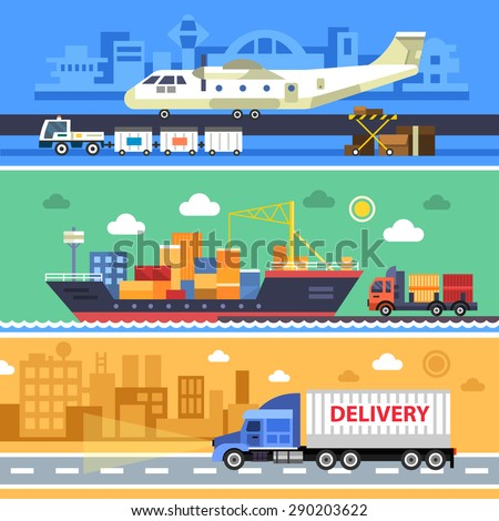 Shipping transport, delivery. Land, water and air types of transportation. Aircraft, ships and truck vector flat illustrations. - stock vector