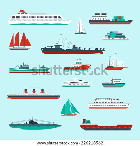 Ships and boats cargo cruise and container marine transport decorative icons colored set isolated vector illustration - stock vector
