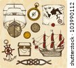 Ships and treasure - stock vector