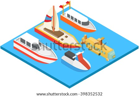 Ships motorboats yachts isometric icons set on water.vector illustration - stock vector