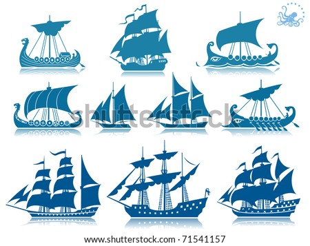 Ships of the past  iconset - stock vector