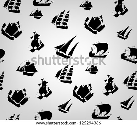 Ships pattern - stock vector