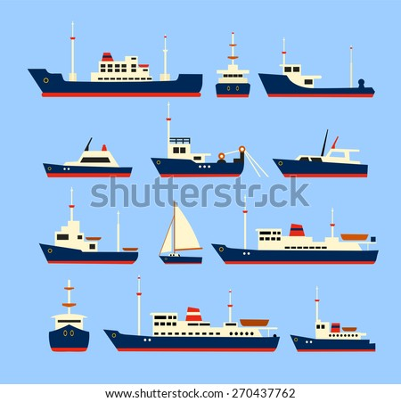Ships set. Silhouettes of various ships and yachts. - stock vector