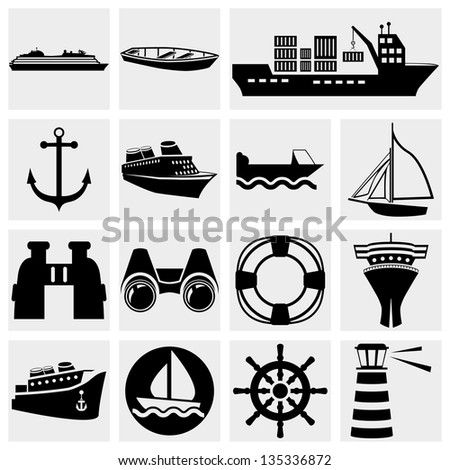 Ships vector icon set. - stock vector