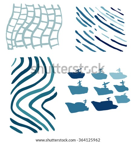 ships,waves,fishing net  abstract background with brush strokes,printing drawn set