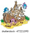 Shipwreck at sea bottom - vector illustration. - stock photo