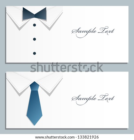 Shirt and tie vector business card. Set of to cards. - stock vector