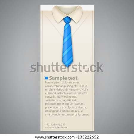 Shirt and tie vector vertical business card - stock vector