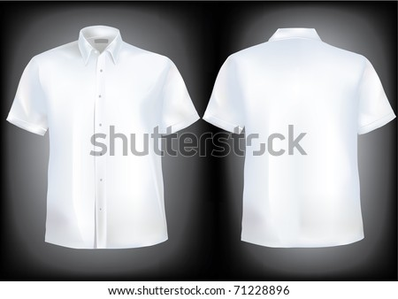 Shirt front and back with collar and half sleeves in mesh.Shirts in separate layers and very detailed with buttons and easily editable - stock vector