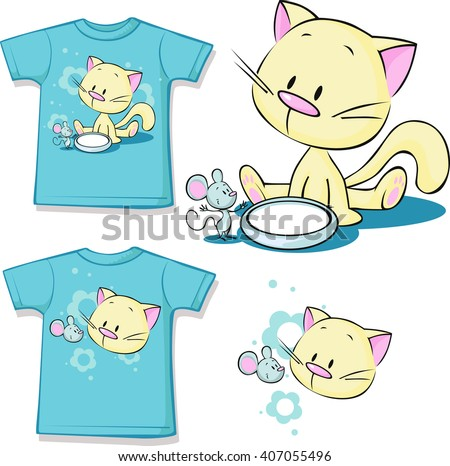 shirt printed - Cute kitten sitting next to dishes of milk watches mouse - stock vector