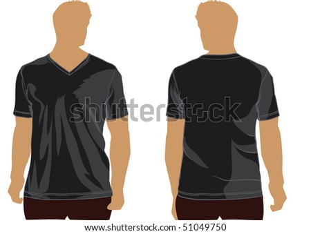 Shirt template with v-neck.