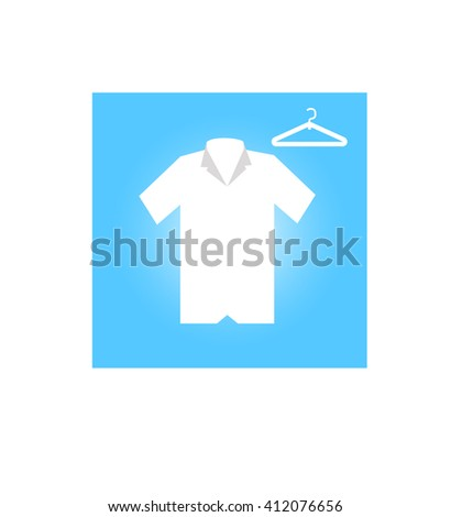 Shirt with short sleeves and a clothes hanger on a black background - stock vector