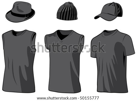 Shirts and caps. Vector illustration