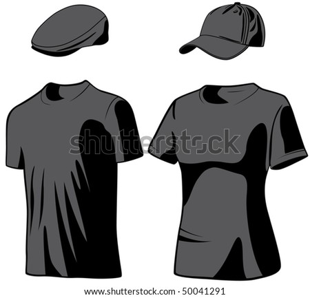 Shirts and hats. Vector illustration - stock vector