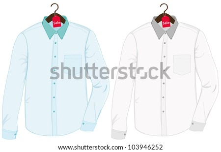 Shirts on a hangers - stock vector