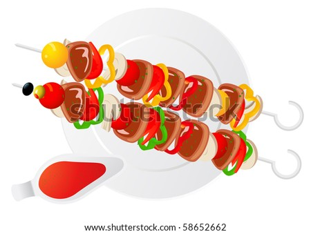 Shish kebab, vector illustration - stock vector