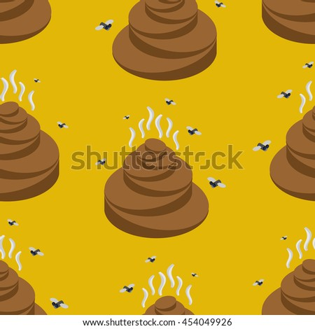 Shit isometric seamless pattern. Turd and fly texture