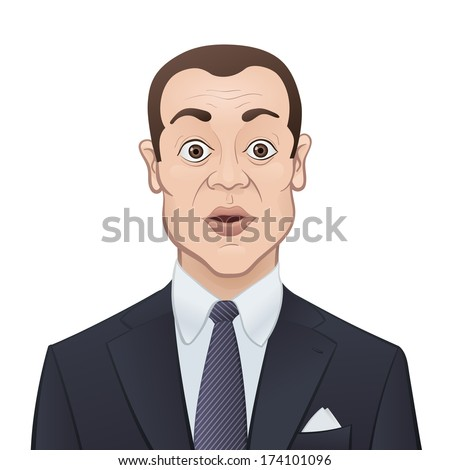 Shocked Businessman in a Suit and Tie Isolated on White Background - Cartoon Character