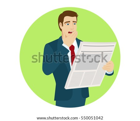 Shocked businessman reading a newspaper. Bad news. Portrait of businessman in a flat style. Vector illustration.