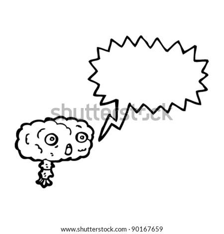 shocked cartoon brain - stock vector