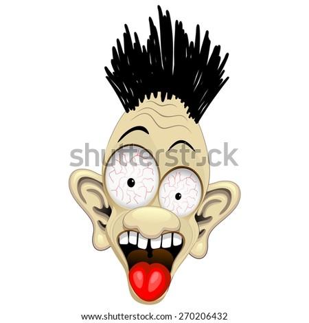 Shocked Cartoon Character Face - stock vector