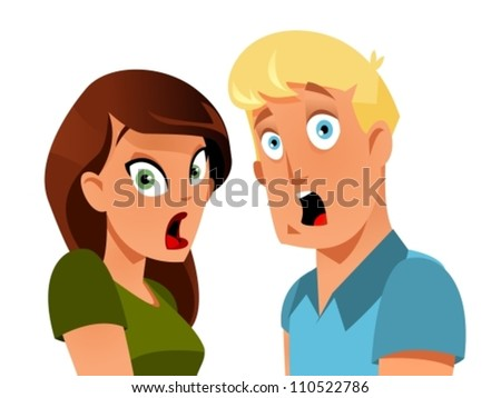 Shocked couple - stock vector
