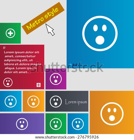 Shocked Face Smiley icon sign. Metro style buttons. Modern interface website buttons with cursor pointer. Vector illustration
