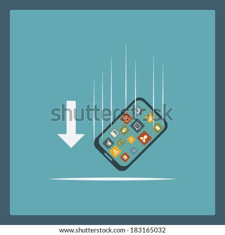 Shockproof smartphone concept illustration. Eps10 vector illustration - stock vector