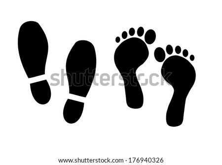 Shoe and bare foot print vector - stock vector