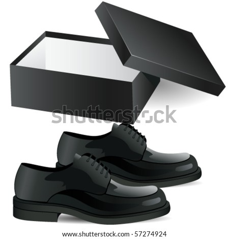 shoe box and man's black business shoes vector illustration - stock vector