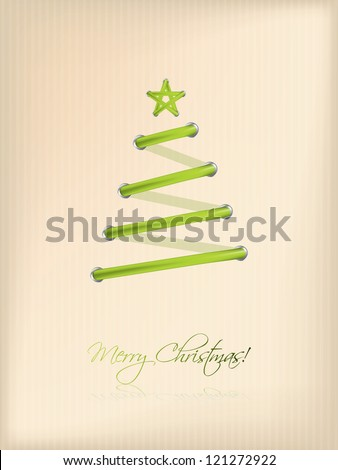 Shoe lace design christmas tree on striped background - stock vector