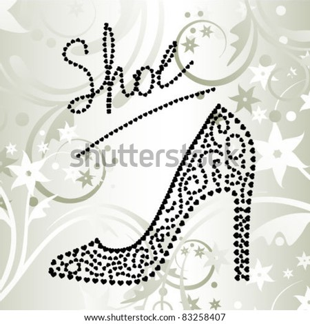 shoe made of hearts - stock vector