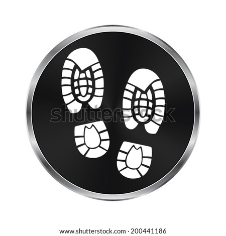 Shoe print icon - vector brushed metal button - stock vector