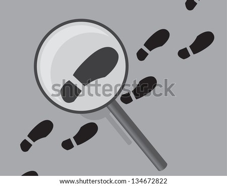 Shoe print tracks being examined by magnifying glass - stock vector