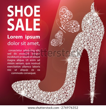 Shoe sale design. Elegant ladies high heels shoe shape, made with shiny diamonds. Isolated on dark red  blurred background. Vector illustration. - stock vector