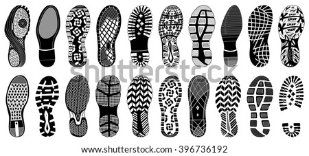 Shoe tracks - Illustration. Collection of highly detailed footprints: shoes, sneakers, boots, slippers  - stock vector