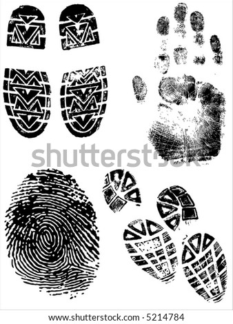 ShoePrints Handprints and Fingerprints - Grouped and on separate layers - stock vector