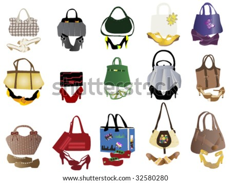 shoes and bags for women - stock vector
