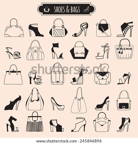 Shoes and bags. Illustration in style of freehand drawing - stock vector