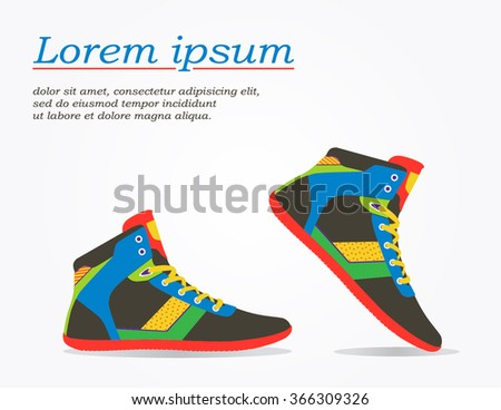 Shoes flat icon with bright colorful running sneakers. Vector illustration isolated on white background. - stock vector