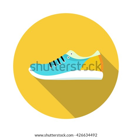 Shoes flat icon with bright colorful running sneakers. Vector illustration with long shadow - stock vector