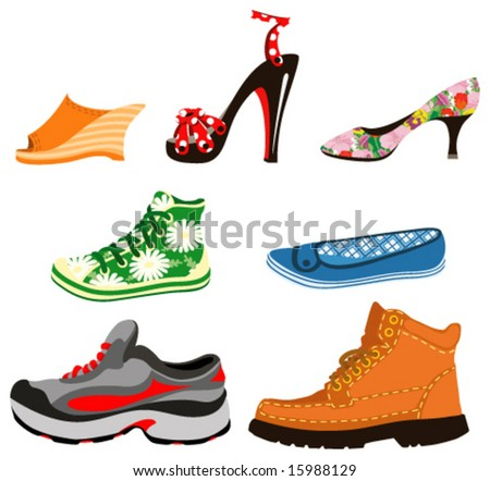Shoes for men and women. Vector illustration