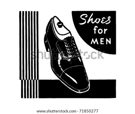 Shoes For Men - Retro Ad Art Banner - stock vector